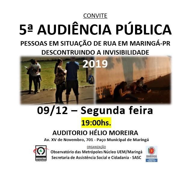 Audiência pública apresenta dados sobre população em situação de rua