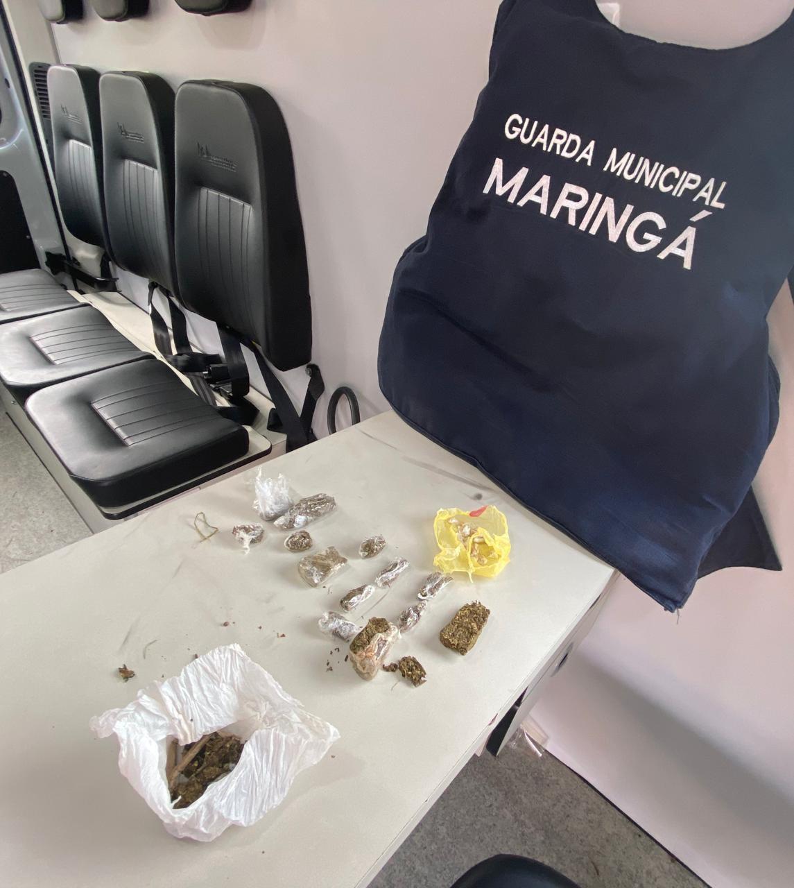 Drogas encontradas pelo cão farejador – Foto: PMM