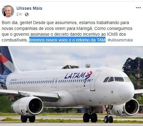 Latam vai operar voos em Maringá, diz prefeito