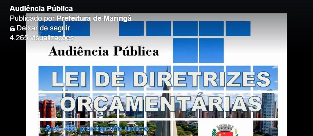 Orçamento da Prefeitura de Maringá será 6% menor em 2021