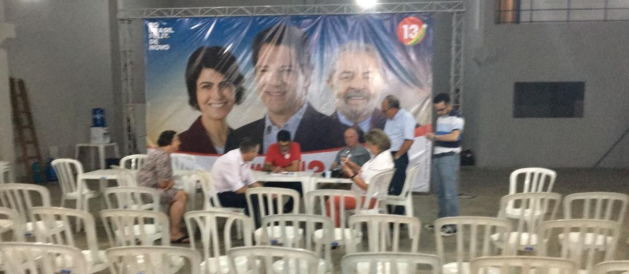 Eleitores do PT estão concentrados no comitê eleitoral