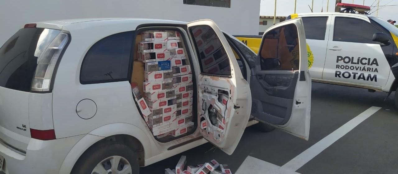 PRE encontra carro cheio de cigarros abandonado na PR-323