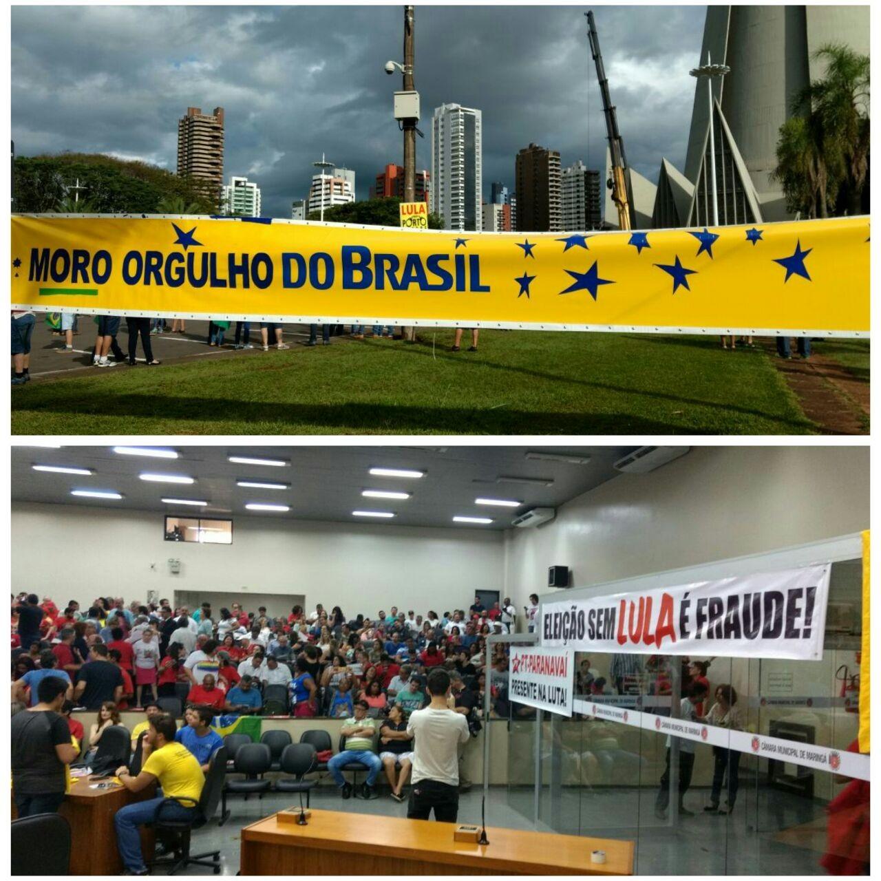 Ato contra a corrupção e a favor do ex-presidente Lula ocorrem em Maringá