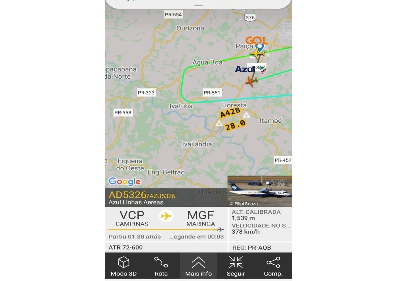 Vento forte atrapalha pouso de avião no aeroporto de Maringá