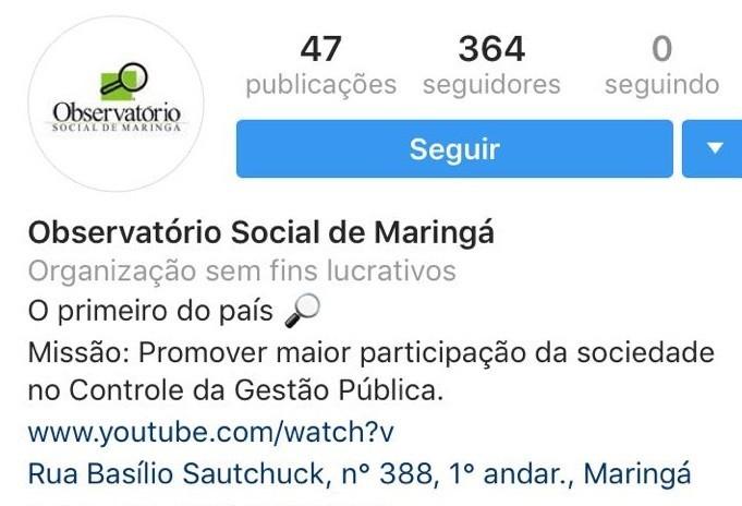 Observatório Social de Maringá aumenta uso das redes sociais