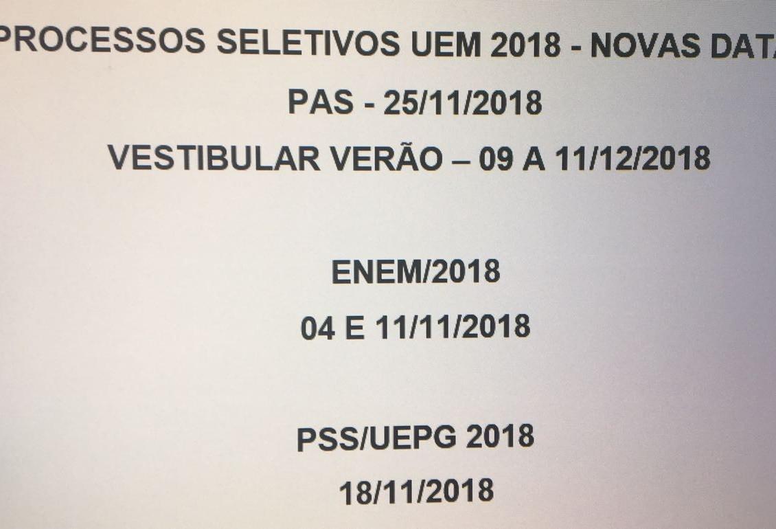 PAS será realizado no final de novembro