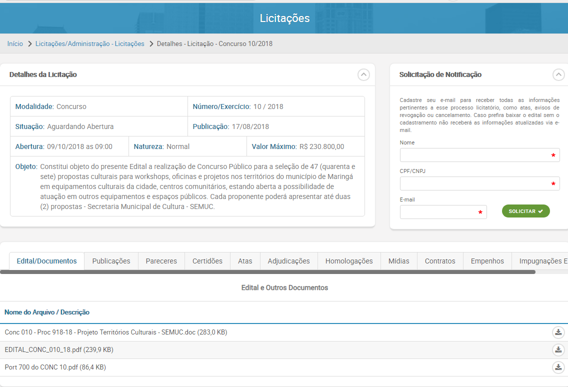 """Edital """"Territórios Culturais"""" oferta R$ 230 mil"""