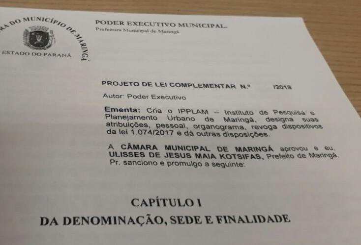 Projeto que cria Instituto de Pesquisa e Planejamento já está na Câmara de Maringá