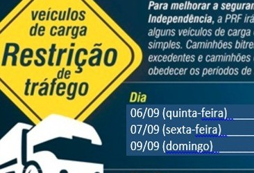 Tráfego de veículos pesados será restrito após as 16h