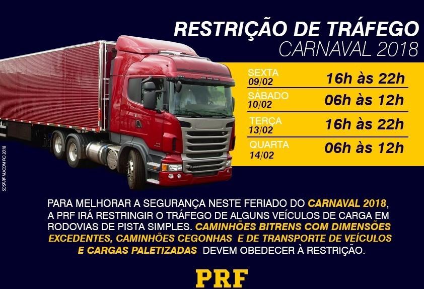 PRF restringe tráfego de veículos pesados no carnaval