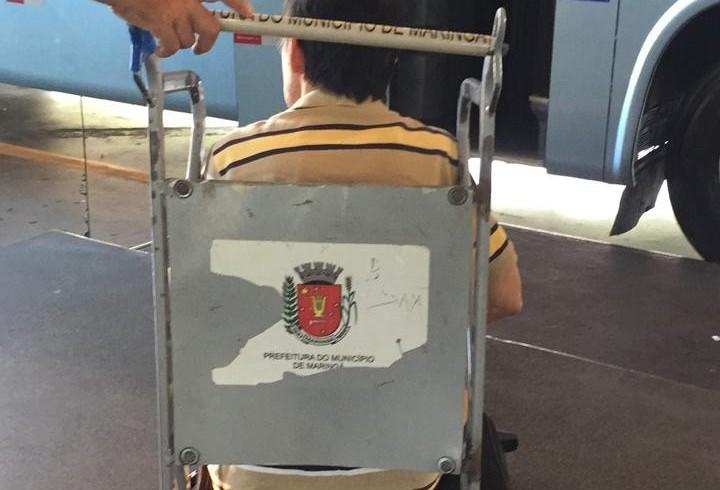 Cadeira de rodas improvisada é flagrada na rodoviária de Maringá