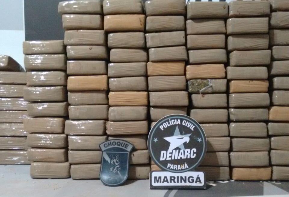 Denarc apreende 100 kg de maconha na PR-317 em Maringá