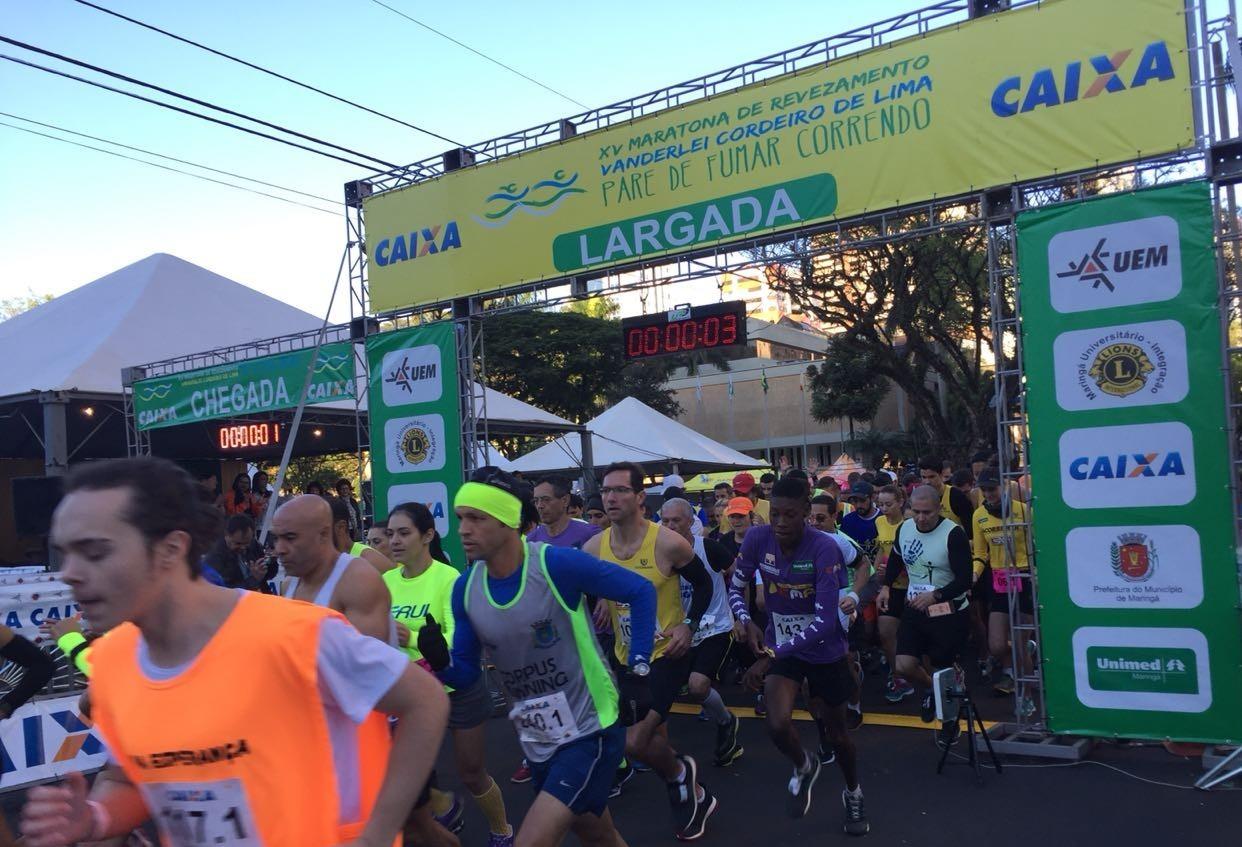 Atletas enfrentam frio durante maratona em Maringá