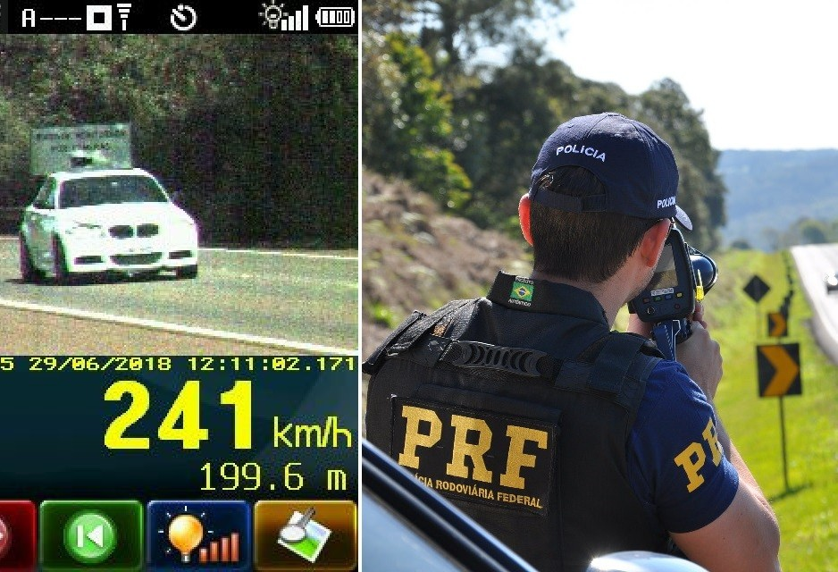 PRF flagra veículo a 241 Km/h em Campo Mourão