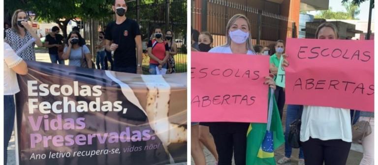 Pais e professores contra e a favor de aulas presenciais se manifestam em frente à Câmara de Maringá