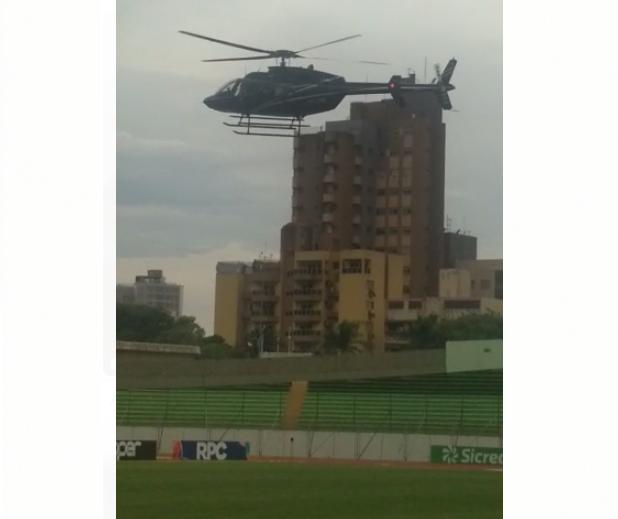 Helicóptero pousando no Willie Davids e agressão à torcida do Cascavel