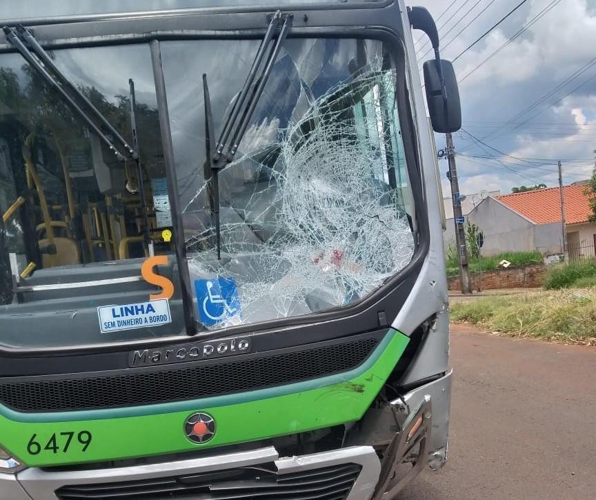 Motociclista fica em estado grave em colisão contra ônibus