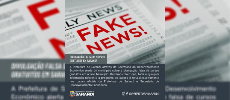 Prefeitura de Sarandi alerta sobre divulgação de falsos cursos gratuitos