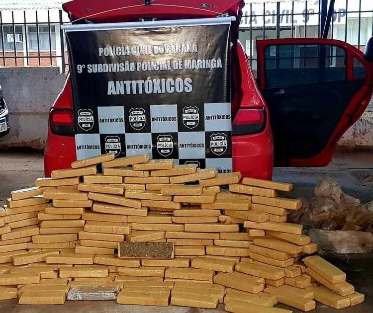 Casal é preso com 198 kg de maconha em carro em Maringá