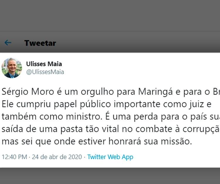 Prefeito de Maringá e senadores paranaenses se manifestam sobre saída de Moro