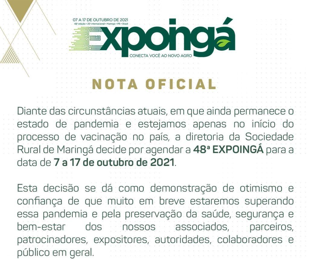 48ª Expoingá será de 7 a 17 de outubro