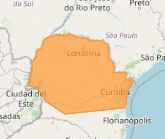Inmet emite alerta laranja para temporais no Paraná