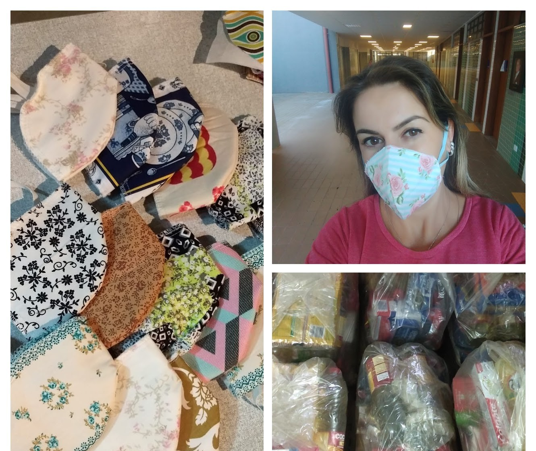 Professora troca máscaras por alimentos para doar a quem precisa