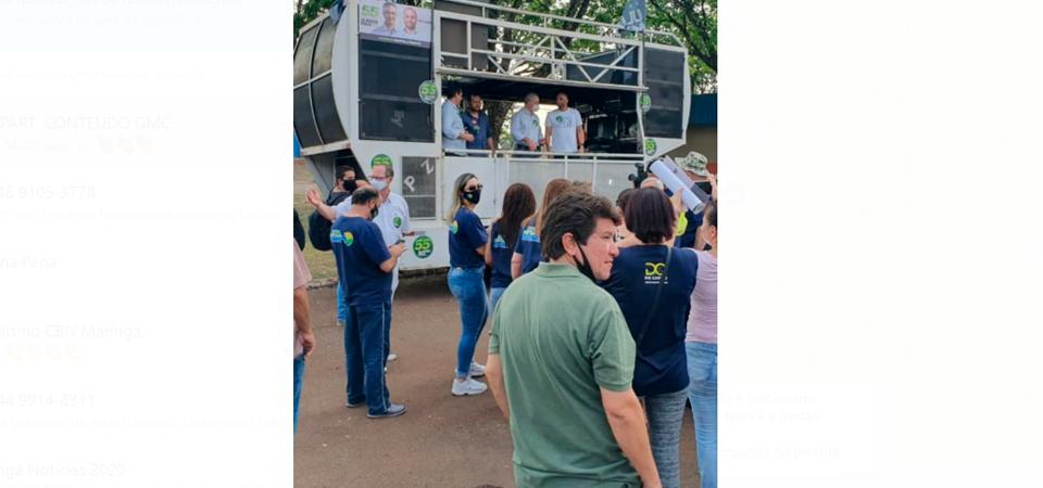 Vagner de Oliveira, vestido com camisa em tom de verde, em evento de campanha.