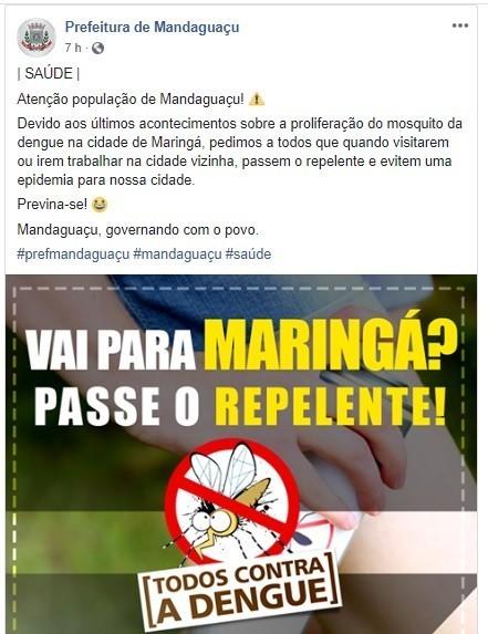 Post feito nessa terça-feira (9) pela Prefeitura de Mandaguaçu e que posteriormente foi excluído da fanpage. Foto: Reprodução/Facebook