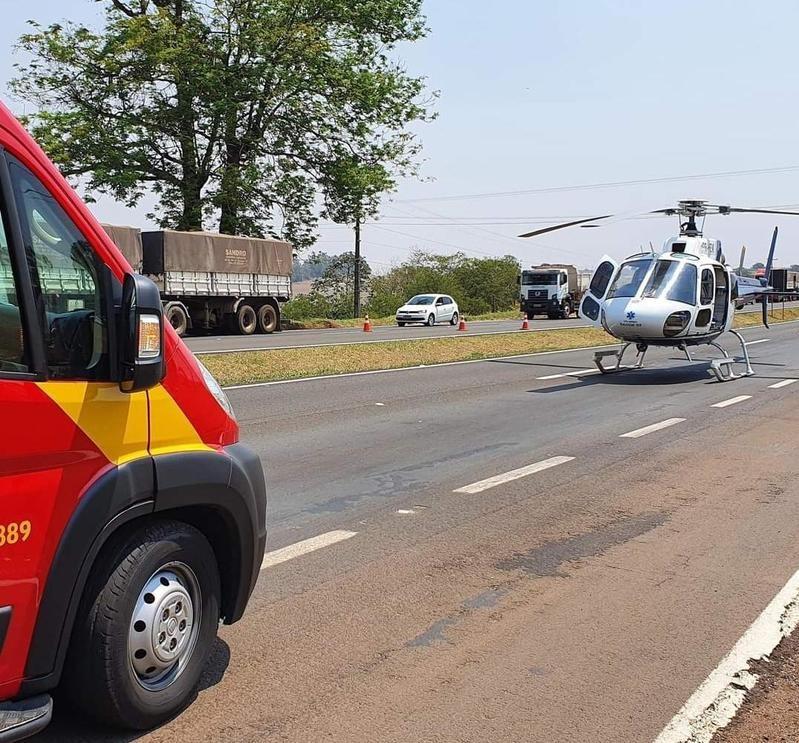 Helicóptero do Samu esteve no local – Foto: Operações Aéreas Samu