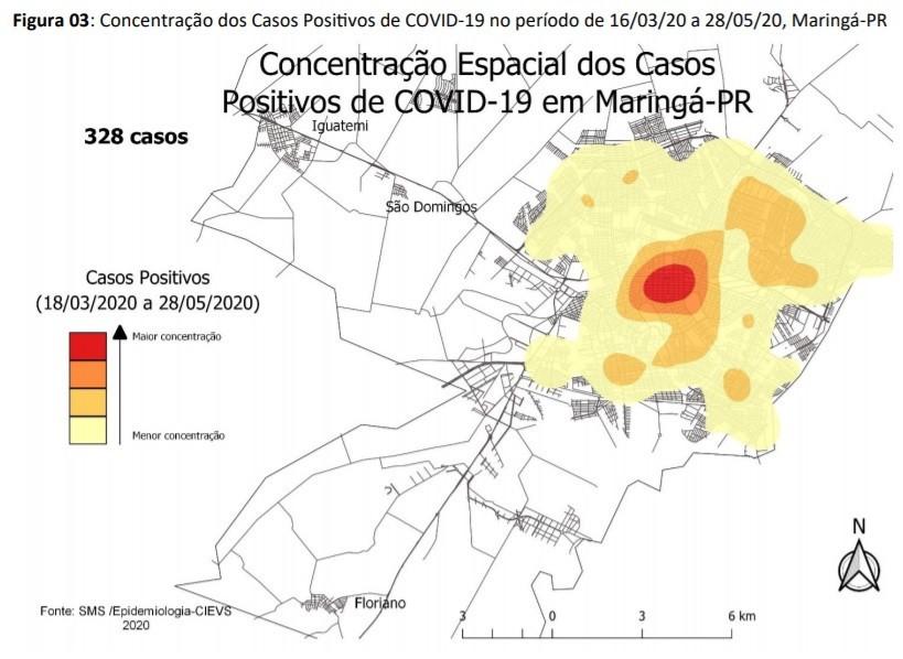 Concentração dos Casos Positivos de COVID-19 no período de 16/03/20 a 28/05/20, Maringá-PR - Fonte: Secretaria de Saúde