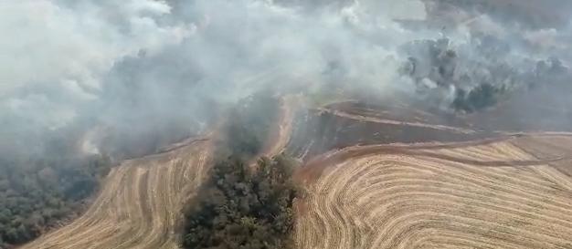 Bombeiros continuam o combate ao grande incêndio que atinge plantações na região