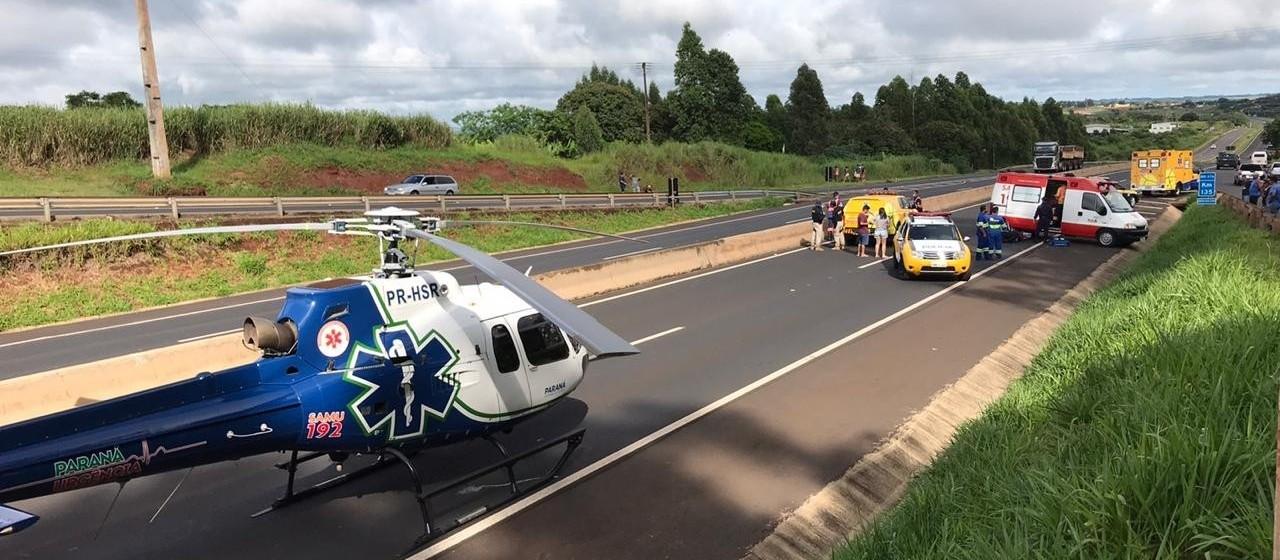 Idoso fica gravemente ferido ao ser atropelado na BR-376