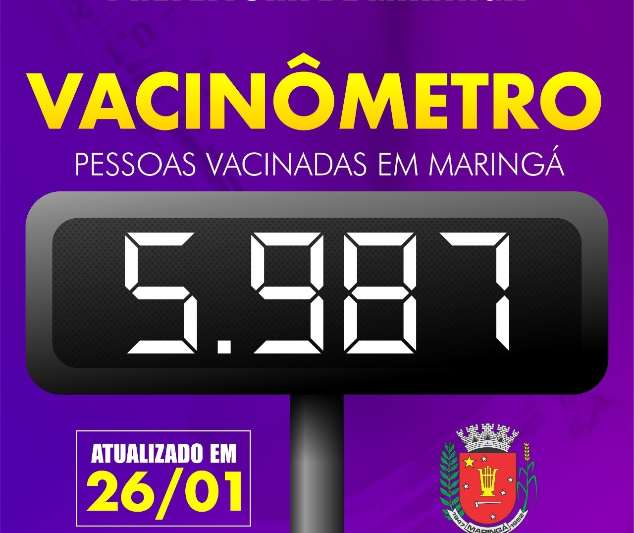 Covid-19: Maringá vacinou 532 pessoas nesta terça-feira; total chega a 5.987