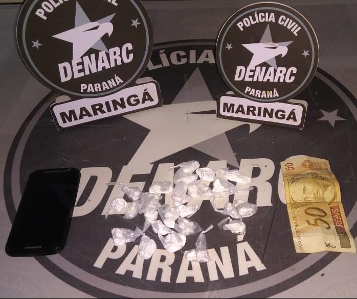 Jovem que vendia drogas por aplicativo de celular é preso em Maringá