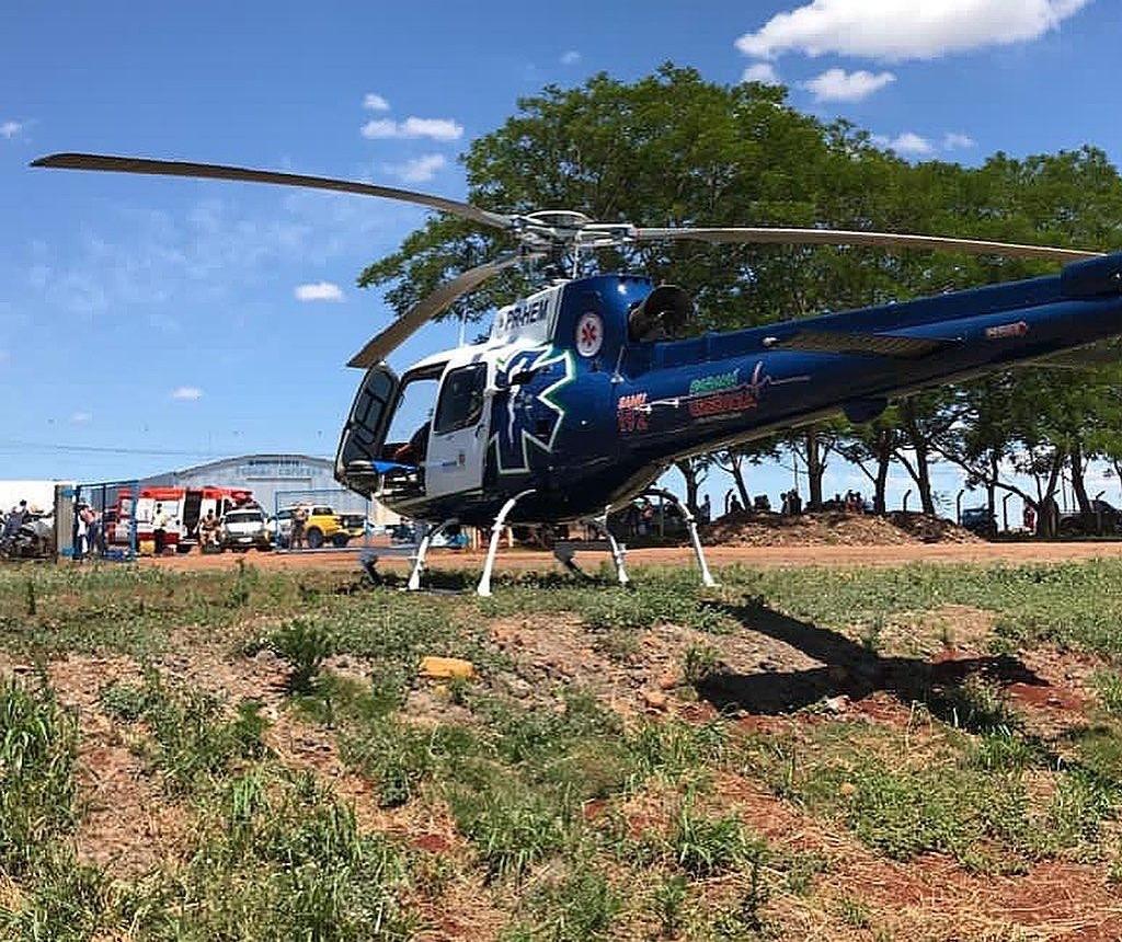 Mulher fica ferida em trilha e é resgatada de helicóptero em Mandaguari