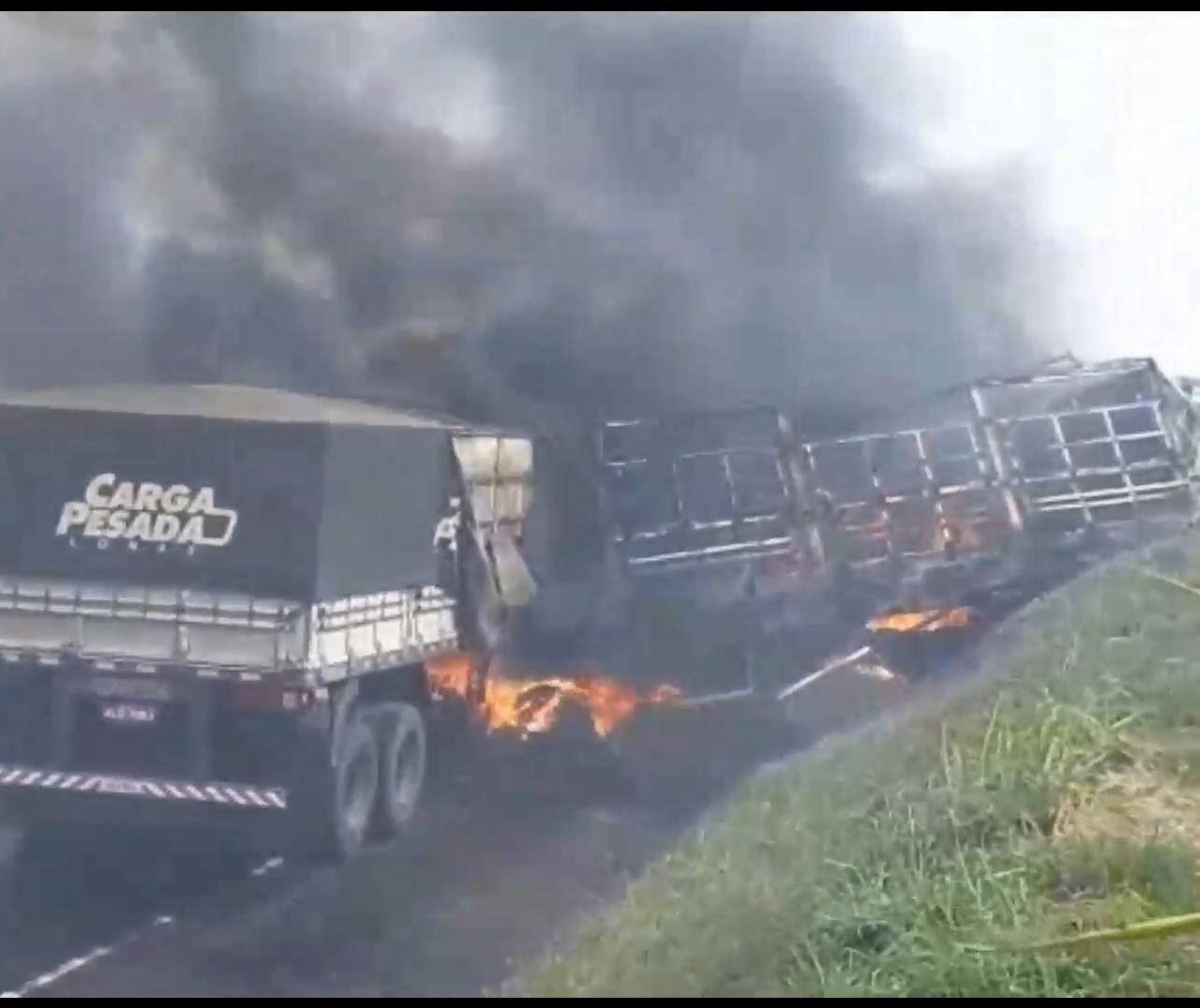 Caminhões batem de frente e duas pessoas morrem