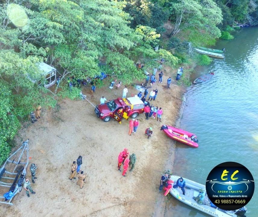 Bombeiros usam drones no 5º dia de buscas no Rio Ivaí; duas pessoas seguem desaparecidas