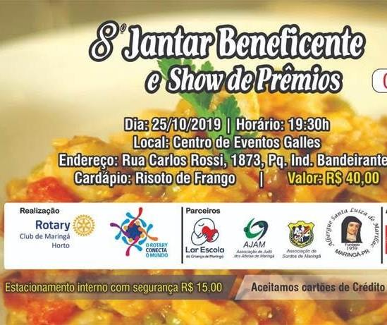 Rotary Club promove jantar beneficente para ajudar quatro entidades
