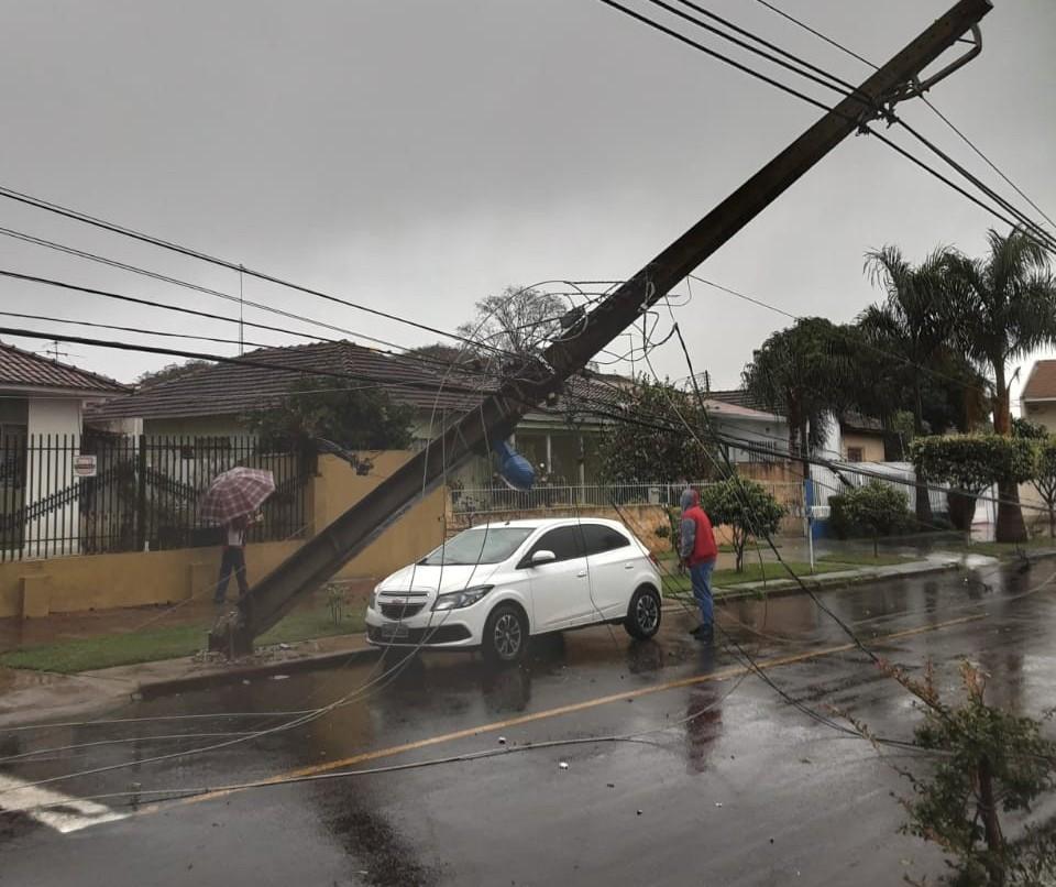 Chuva provoca queda de árvores e postes de energia