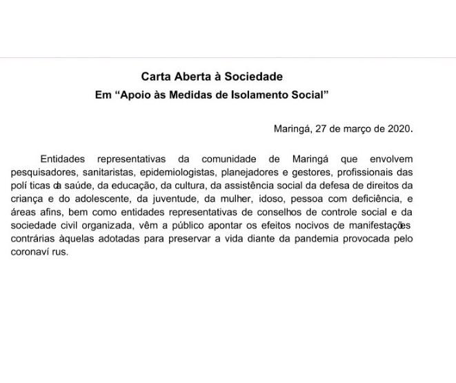Quase 50 entidades apoiam medidas de isolamento social em Maringá