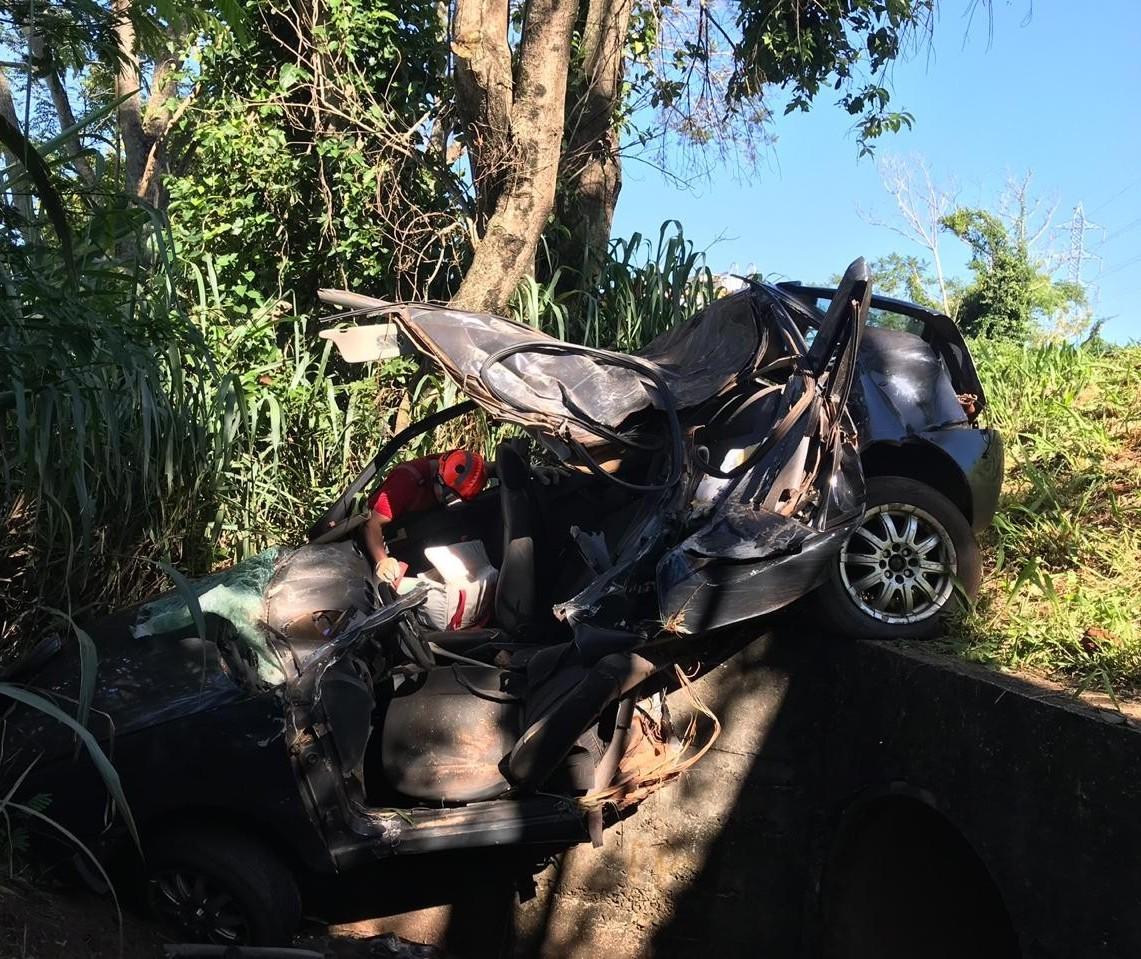 Motorista morre e passageira fica ferida após carro bater em árvore