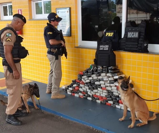 Com ajuda de cães farejadores, PRF apreende 158 Kg de cocaína