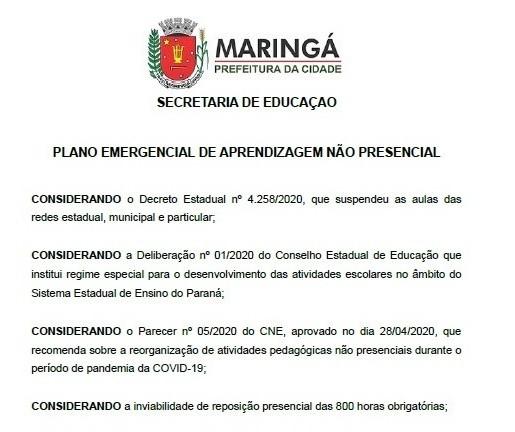 Em plano emergencial, Educação prevê volta às aulas no dia 25 de maio