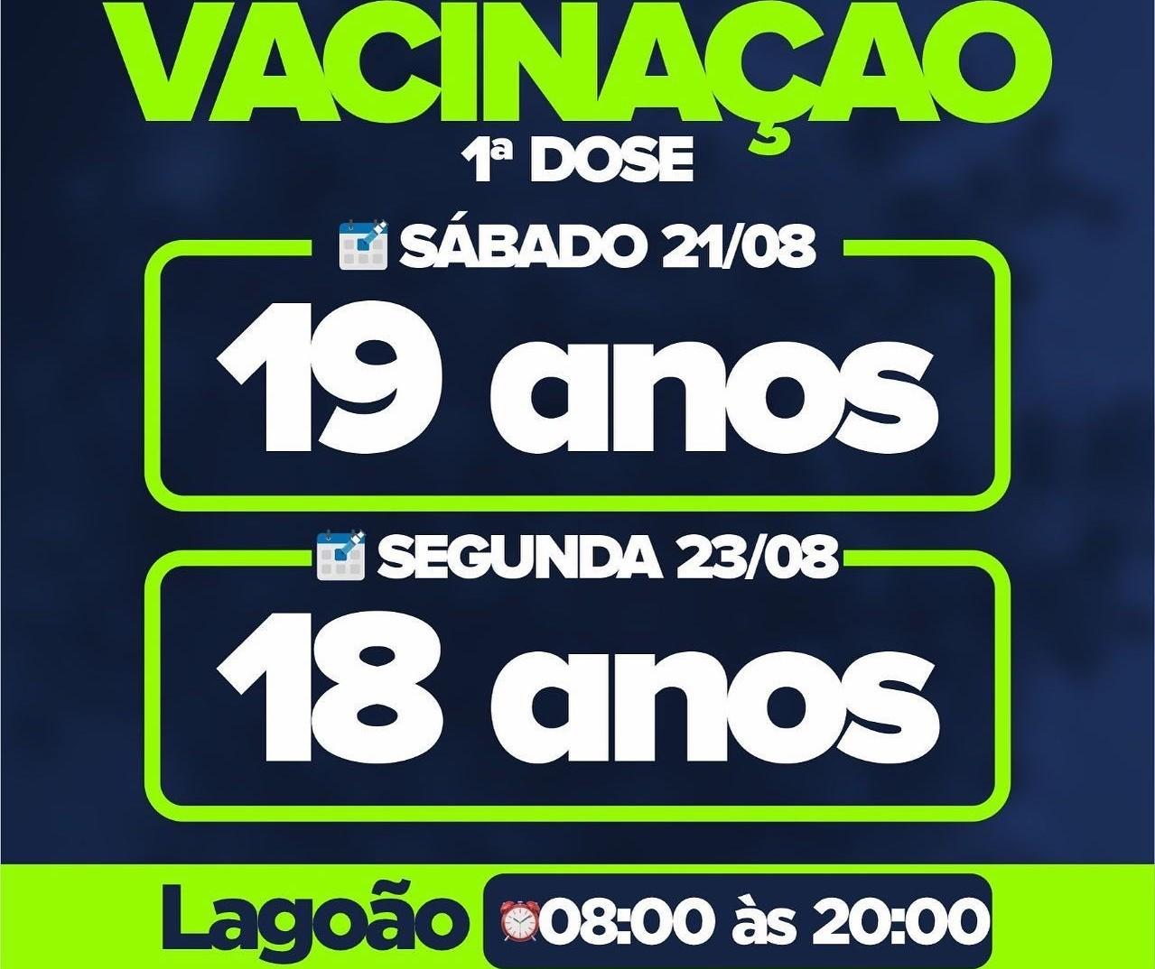 Apucarana vacina jovens de 18 anos na segunda-feira (23)