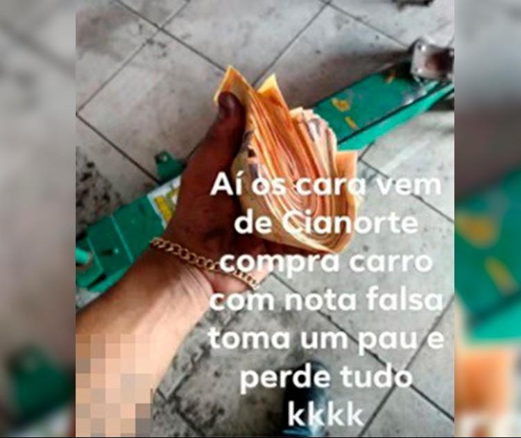Jovem é preso depois de postar foto com quase R$ 4 mil em notas falsas